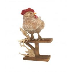Coq sur perchoir bois 20x23x H 40cm