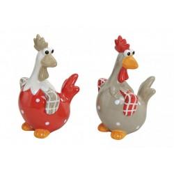 Poules en céramiques 13x10x20cm 2 pièces