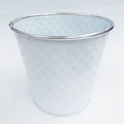 Cache Pot Zinc Blanc Dia18.5 H17 cm