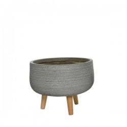 Cache-pot gris /pied bois 37X18cm