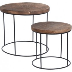 Set de 2 table ronde manguier