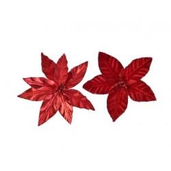 Poinsetia Rouge Pailleté sur pince / 15 Pièces